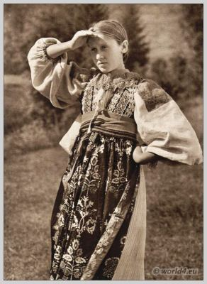 Traditional Czech costume Lužná u Rakovníka. Beautiful embroidery design