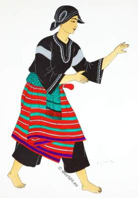 Traditional Sumatra costume. Topèng-dance, Légong, Pencak martial arts.