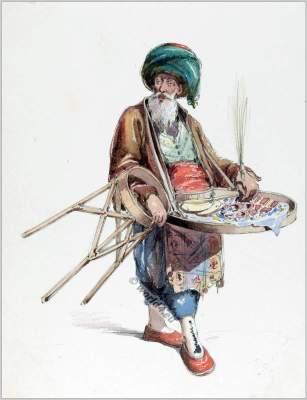 Traditional Turkey merchant clothing. Ottoman empire dress. Amedeo Preziosi drawing