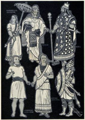 Ancient Assyrian costumes. Umbrella Bearer. Queen and King. Common Assyrian costumes. Court Official clothing. Ancient Assyrian Warrior with weapons