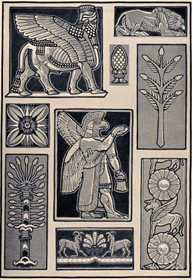 Ancient Assyrian architecture decoration. Middle east ornaments. Lion, Assyrian winged bull, shedu, Snake Tree.