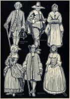 American colonial costume from 1760 and 1717. Man and woman Puritan costumes. Quaker costume.