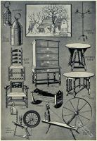 American Colonial furniture, spinning wheels and lighting articles