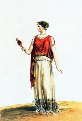 Ancient Greek clothing. Ionic chiton. Himation. Authentic Greece costumes.