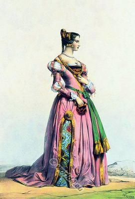 Belgian lady renaissance costume. Fifteenth century medieval clothing