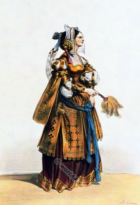 Noblewoman from Liege Belgium in nobility costume. 15th century clothing. Medieval Renaissance fashion