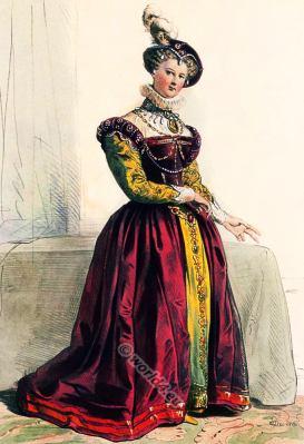 Tudor costume. Renaissance era clothing.
