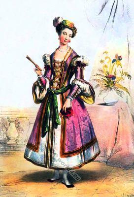 English lady of the Court of Henry VIII, 16th century clothing. Renaissance costume. Tudor female fashion