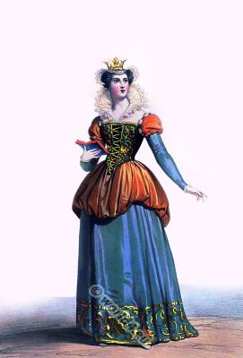 Blanche of Navarre. Queen of France. Middle ages gothic costume. Burgundy fashion era.