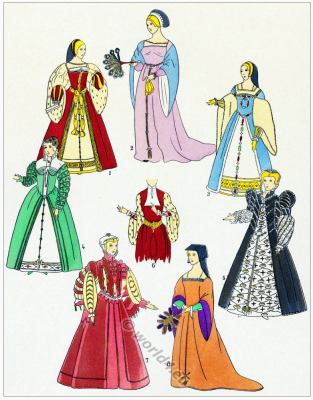 Renaissance Gowns. Renaissance Fashion History. 15th century costumes. 16th century fashion.