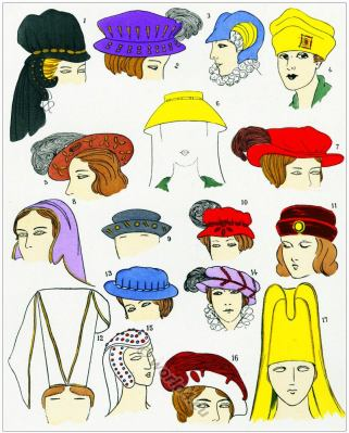 Renaissance Hats design. Chapeaux. 16th century fashion.