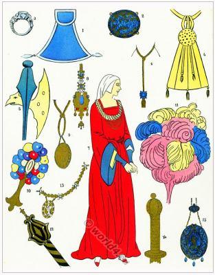 Medieval trinkets, jewelry, frippery. Colifichets. Les modes de la renaissance.