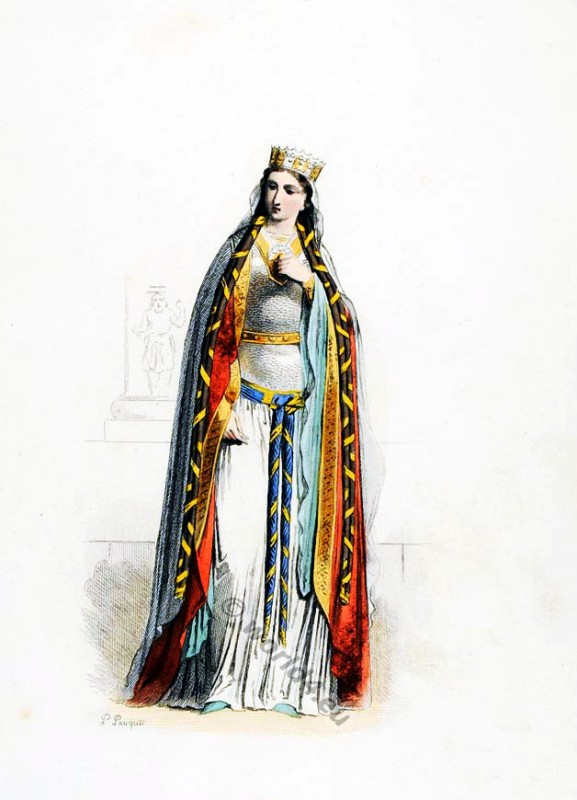 Middle ages costumes 5th century. Saint Clotilde Chrodechild Merovingian Frankish Queen. Womens clothes in the middle ages
