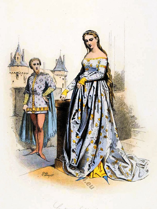 French medieval clothing. Burgundian Fashion. Middle ages costume. Ceremonial robes. Goth clothing. Womens clothes in the middle ages