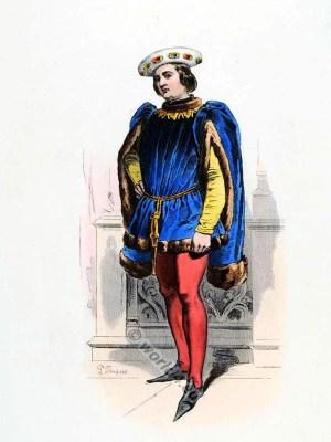 Baron Jean de Montaigne. 15th century costume. Burgundian fashion. Medieval nobility clothing.
