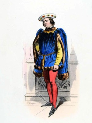 Baron Jean de Montaigne. 15th century costume. Burgundian fashion. Medieval nobility clothing.