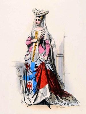 Jacqueline de la Grange. French medieval clothing. Burgundian Fashion. Middle ages ceremonial robes. Goth clothing