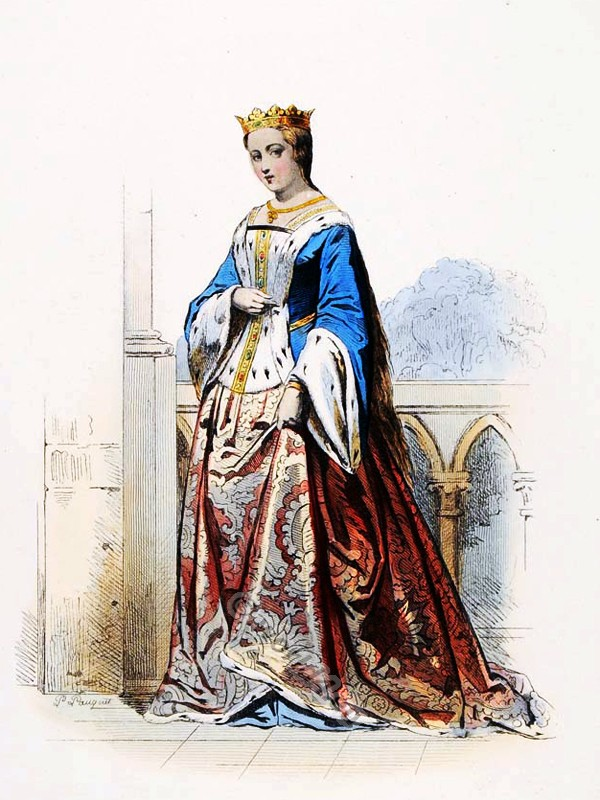 Anne De Bretagne. French goth ceremonial robes. Burgundian costume fashion. medieval clothing. Womens clothes in the middle ages