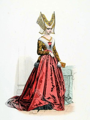 15th century costume. Roman noble family of the Orsini. Burgundian Fashion. Middle ages goth costume. Ceremonial robes. Medieval clothing. Womens clothes in the middle ages