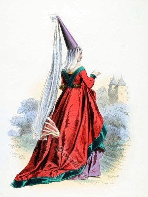 France, medieval, feshion,hennin, Middle ages, costume, history,