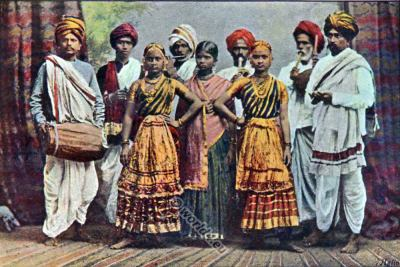National costumes of India. National costumes of India. The Nautch girls. Indian musician and dancers clothing.