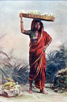 National costumes of India. The Mellon Seller clothing. Indian Character.