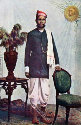India National costume. The Marwari or Marwadi clothing. Traditional Indian Rajasthan costume