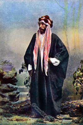 National costumes of Arabia. Arab horse dealer. Native Arabian costumes