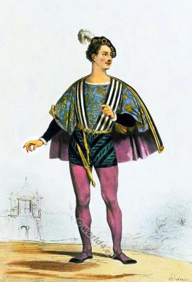Italian nobleman clothing. Renaissance 16th century costumes.