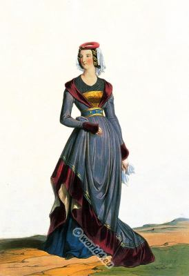 French medieval clothing of the time of Charles VII.  Middle ages Burgundian costume