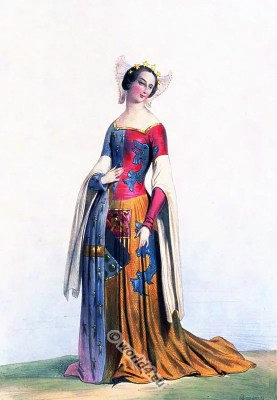 France medieval woman costumes.. Middle ages costume history. 15th century fashion.