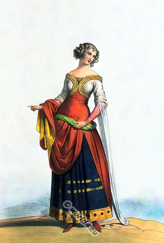Noblewoman, 14th century, clothing, Middle ages, costume, Burgundy, fashion,