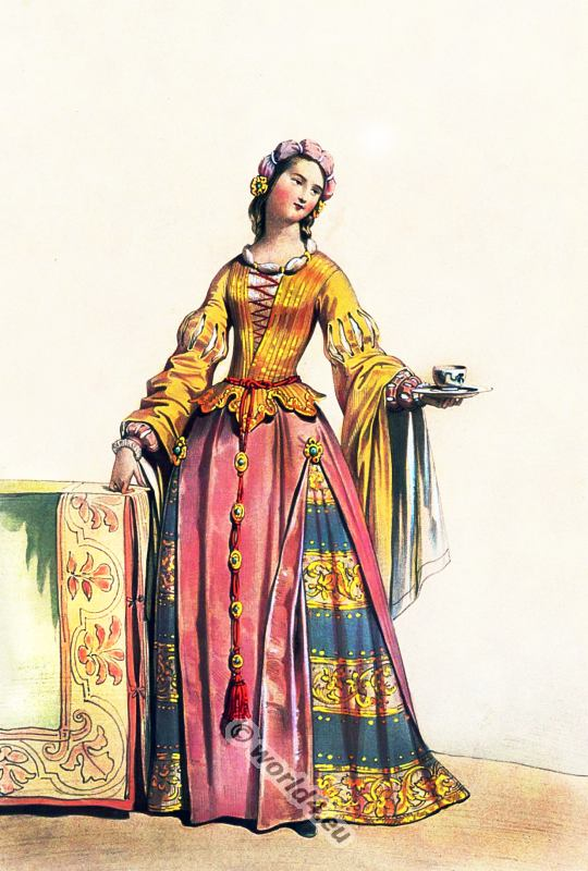 German medieval costume. 16th century fashion. Renaissance clothing.
