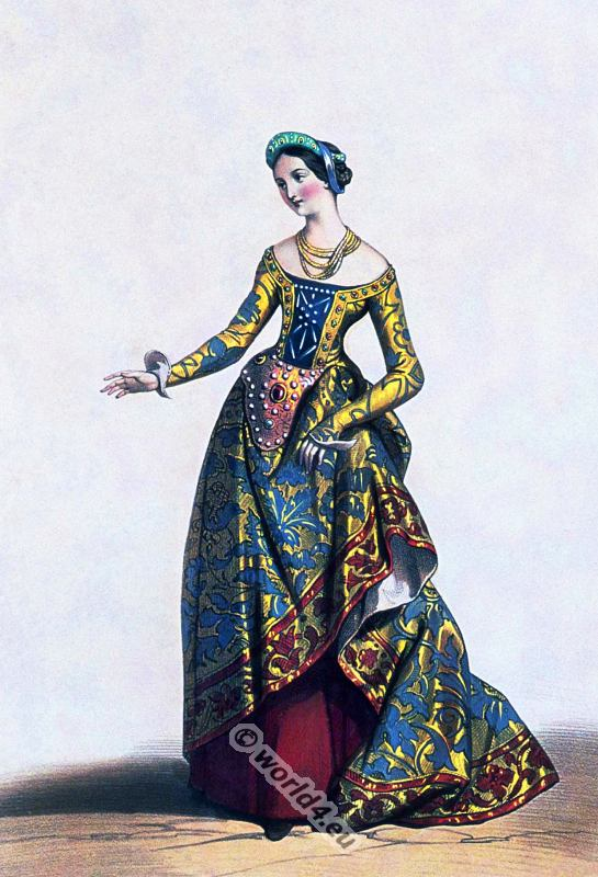 Medieval. middle ages clothing.14th century costume. Duchess of Brittany. Burgundy fashion.