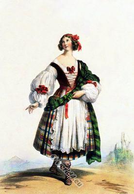 Medieval, Scottish, woman, costume, 14th, century, Kilt.