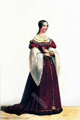 Women from Toulouse in French renaissance fashion. medieval clothing. 16th century costume