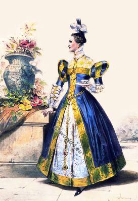 court dress. French lady. Marie Stuart. Tudor fashion. Renaissance costumes.
