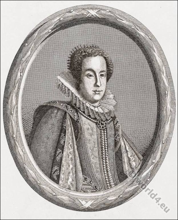 Claudia of Etruria. Claudia de' Medici, Baroque clothing. Spanish fashion. Nobility court dress. Womens clothes in the middle ages