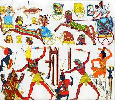 Ancient Egypt Pharao costumes. Egypt King in war regalia.