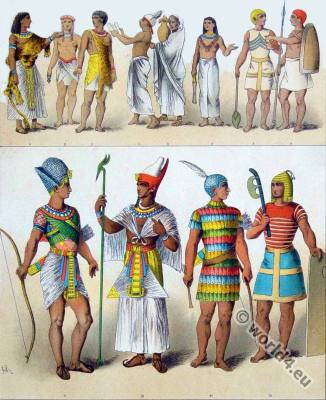 Costumes of the ancient Egyptians. King in battle dress. Egyptian warrior. Egyptian priests. King in a ceremony clothing. pakaian perang mesir kuno