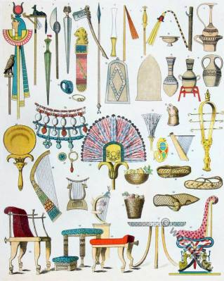 Ancient Egyptian cultural usage items. antique egypt weapons, ornaments, decoration. shoes, furniture