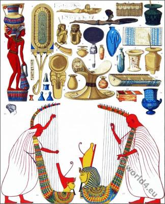 Ancient Egypt costumes. Music instruments harp, musical instruments, eunuchs, loom comb, oil lamps, wigs. Harem of Pharaoh. Cleopatra costume