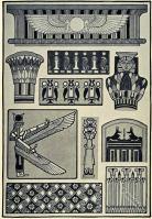 Ancient Egypt Architectural Decorations. Egypt Ornamental Designs.