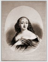 Louise de La Vallière. Mistress of Louis XIV. Baroque costumes, hairstyle and fashion. Famous woman 17th century