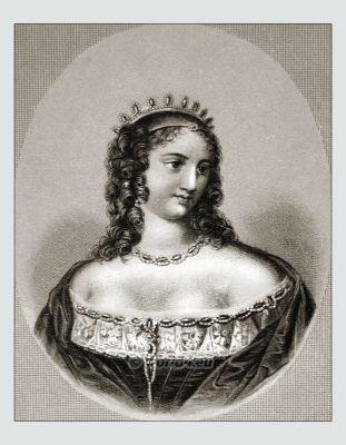Ninon de Lenclos. French courtesan and salonière. Hairstyle Baroque period. Louis XIV fashion period