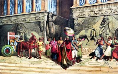 Ancient, Assyria, king, ceremonial, robe, musicians, court, civil, servants,