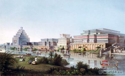 Mesopotamian city. Ancient Assyrian Palaces of Nineveh