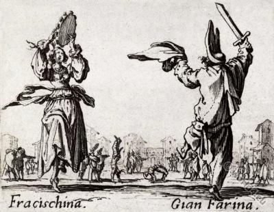 Commedia dell'Arte costumes dance, acrobat, street-performer. Medieval clothing. Renaissance cloth.