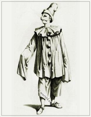 Commedia dell'arte Theater Costume Pagliaccio, Masques et bouffons, Actors of the comédie italienne.