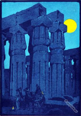 Ancient Egypt architecture. The Tempel of Luxor. Egypt gods. Lithography.